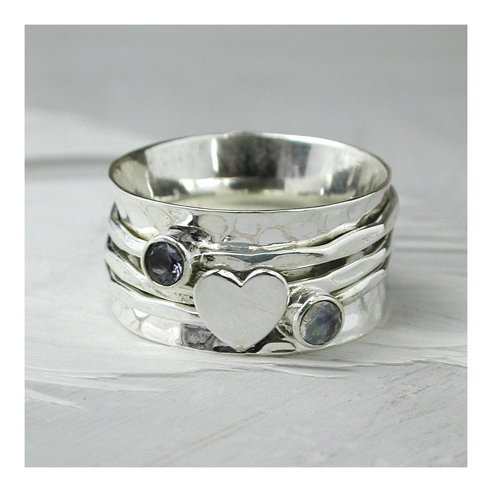 Sterling Silver Iolite Heart Spinning Ring Jewellery From Baroc Uk